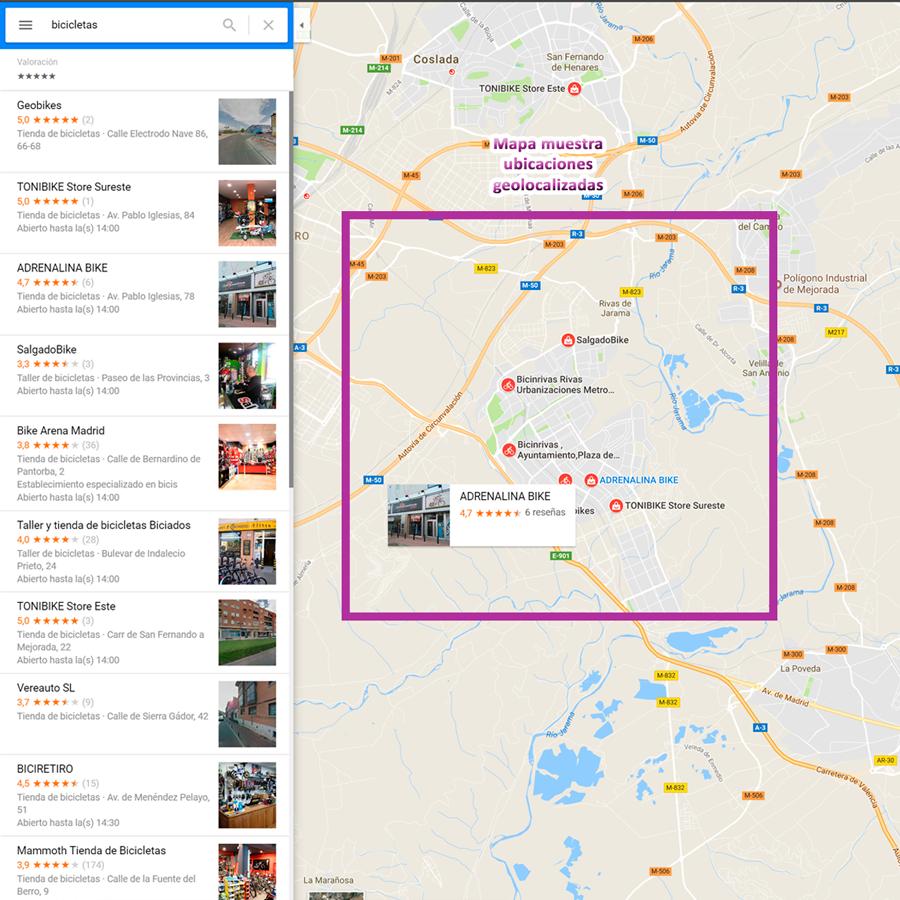 búsqueda local mapa geolocalizado